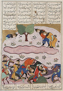 A 15th-century Shahnameh illustration showing the defeat and death of Peroz I