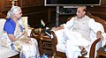 The Governor of Goa, Smt. Mridula Sinha calling on the Union Home Minister, Shri Rajnath Singh, in New Delhi on April 21, 2016.jpg