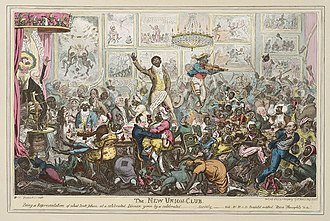 George Cruikshank - The New Union Club dinner with black guests