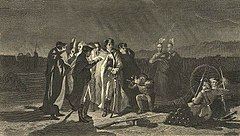 Cena noturna retratando Washington no centro, entre oficiais e índios, em torno de uma lâmpada, segurando um conselho de guerra