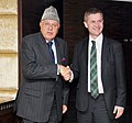 The Norwegian Minister for Environment and International Cooperation, Mr. Erik Solheim meeting the Union Minister for New and Renewable Energy, Dr. Farooq Abdullah, in New Delhi on February 01, 2012.jpg