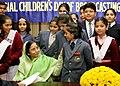 The President, Smt. Pratibha Devisingh Patil interacting with school children on International Broadcasting Day at Rashtrapati Bhavan, in New Delhi on December 09, 2007.jpg