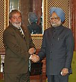 The Prime Minister, Dr. Manmohan Singh at a bilateral meeting with the President of Brazil, Mr. Lula da Silva, on the sideline of the IBSA Summit, in New Delhi on October 15, 2008.jpg