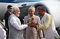 The Prime Minister, Shri Narendra Modi being welcomed by the Governor of Uttarakhand, Dr. K.K. Paul and the Chief Minister of Uttarakhand, Shri Trivendra Singh Rawat, on his arrival, at Dehradun, Uttarakhand (4).jpg