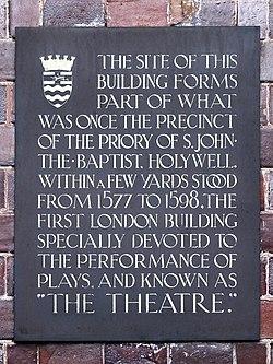 The theatre (1577 %e2%80%93 1598) commemorative plaque