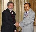 The Union Minister for Petroleum and Natural Gas, Shri Murli Deora meeting with the President of Brazil, Mr. Luiz Inacio Lula da Silva, in New Delhi on June 4, 2007.jpg