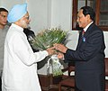 The former Bangladesh President and Jatiya Party Leader, Mr. Hussain Muhammad Ershad calling on the Prime Minister, Dr. Manmohan Singh, in New Delhi on August 14, 2012.jpg