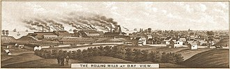 Paul Grottkau - Rolling Mills of the Milwaukee Iron Company at Bay View, objective of strikers involved in the May 1886 Bay View Massacre, a disturbance for which Grottkau was imprisoned.