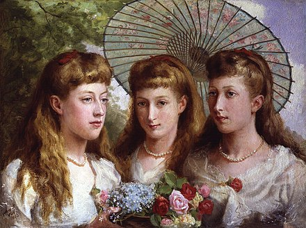 Princess Maud of Wales (centre) as a teenager, together with her sisters Victoria (left) and Louise (right) The three daughters of King Edward VII and Queen Alexandra by Sydney Prior Hall.jpg