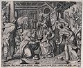 The three kings bring offerings to the infant Jesus. Engravi Wellcome V0034654.jpg