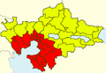 Thessaloniki Metropolitan Area (from 1990ies), Greece - political map - blank.png