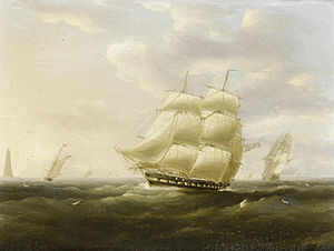 Thomas Buttersworth - A British frigate bowling down the Channel on a breezy day past the Eddystone lighthouse.jpg
