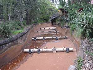 River rapids ride - Thunder River Rapids Ride drained for maintenance showing the system that generates the rapids effect