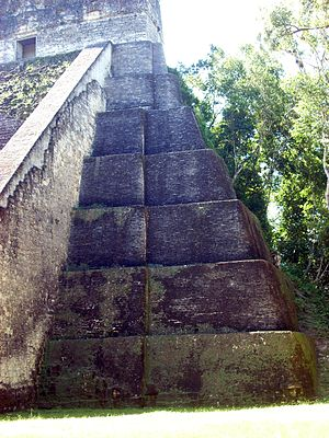 Tikal Temple V - View of the northwest corner, showing the seven stepped sections.