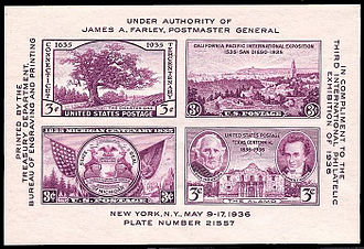 Miniature sheet - This US souvenir sheet of 1936, issued for the TIPEX exhibition, consists of four contemporary commemoratives, imperforate