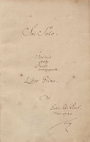 Sonatas and Partitas for Solo Violin (Bach) - Title page of the autograph manuscript of BWV 1001–1006, dated 1720