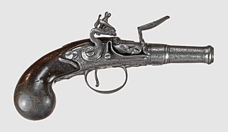 Derringer - A flintlock muff pistol with unscrewable barrel: the 18th century precursor to the caplock Deringer.
