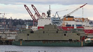 The M/V Tokitae's superstructure at Vigor Shipyards after arrival from Nichols Brothers on Whidbey Island