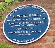 Sarehole Mill's blue plaque.
