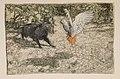 Tomasso the cat confronts Loretta the parrot (Arthur Rackham).jpg