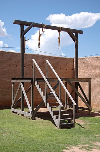Shootout at Wilson Ranch - A replica of the gallows that were used for the hanging of the Halderman brothers on display at the Tombstone Courthouse State Historic Park.
