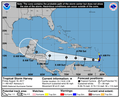 Tormenta tropical Harvey, posible huracán. Alerta a población del Caribe y el norte del país. Esta es la trayectoria estimada hasta ahora. (36254712700).png