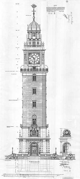 Ambrose Macdonald Poynter - Plan of Torre Monumental in Buenos Aires (1910)