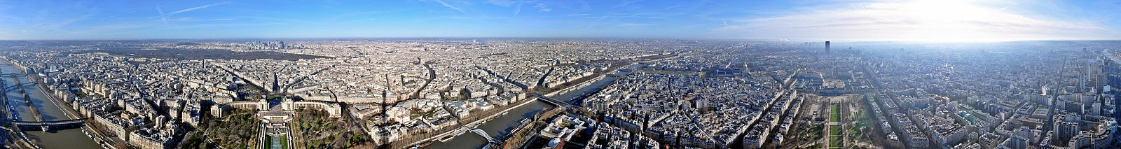 Panorama of Paris as seen from the Eiffel Tower in a full 360-degree view (river flowing from north-east to south-west, right to left)