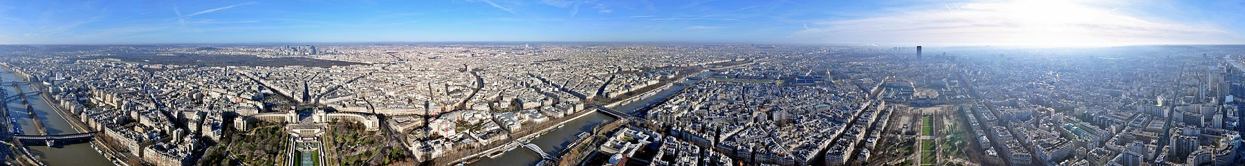 Panorama of Paris as seen from the Eiffel Tower as full 360-degree view.