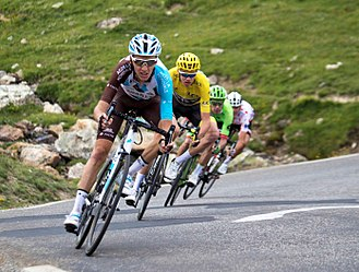Romain Bardet - Bardet leading Chris Froome, Rigoberto Urán and Warren Barguil during a descent at the 2017 Tour de France