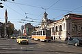 Trams in Sofia in front of Central Market Hall 2012 PD 03.JPG