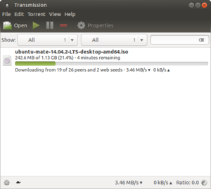 A screenshot of Transmission 2.82 running under Ubuntu MATE
