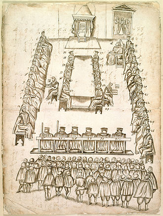 Drawing of the trial of Mary, Queen of Scots, 14-15 October 1586 Trial of Mary, Queen of Scots - Documents relating to Mary, Queen of Scots (1586), f.569* - BL Add MS 48027.jpg