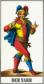 The Fool, the highest trump or excuse in a German captioned 1JJ deck