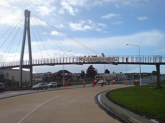 Waterview Connection - Local protests, such as here at the end of the existing stub of SH20, played a role in a combined surface and tunnel being reconsidered.