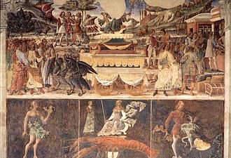 Palazzo Schifanoia - Allegory of June: Triumph of Mercury, fresco by Cosimo Tura (1476-84).