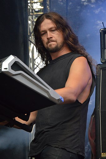 "Above: Govern of Wolfchant. Keyboards are commonly used by Viking metal artists, and are often played at a ""swift, galloping pace"". Turock Open Air 2013 - Wolfchant 12.jpg"