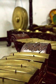 Two Sundanese Saron and a Gong Gede Gedhe in the background from a set of gamelan degung.jpg