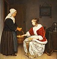 Two Women in an Interior with a Basket of Lemons (ca. 1664-1665) by Caspar Netscher (ca. 1639-1684).jpg