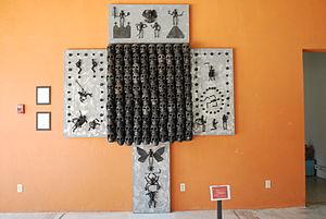 "Museo Estatal de Arte Popular de Oaxaca - Work called ""Tzompantli"" by Carlomagno Pedro Martinez on display at the museum"