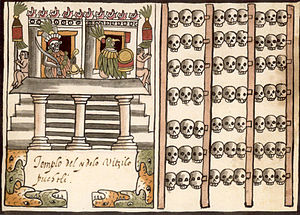 Ramírez Codex - A depiction of a tzompantli, or skull rack, associated with the depiction of a temple dedicated to Huitzilopochtli from Juan de Tovar's manuscript.