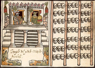 Huītzilōpōchtli - A tzompantli to the right of an Aztec temple dedicated to the Huitzilopochtli; illustrated in the 16th-century manuscript, the Ramírez Codex