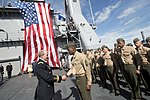 U.S. Army Gen. Martin E. Dempsey, left, the chairman of the Joint Chiefs of Staff, shakes hands with a Marine on the dock landing ship USS Fort McHenry (LSD 43) in Dublin Sept 120901-D-VO565-004.jpg