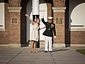 U.S. Marine Lt. Gen. George J. Flynn, Jr., right, and his wife, Sally, wave goodbye during Lt. Gen. Flynn's retirement ceremony at Marine Barracks Washington in Washington, D.C., May 9, 2013 130509-M-KS211-252.jpg
