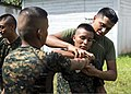 U.S. Marines assigned to a landing attack subsequent operations team conduct a combat conditioning exchange with Guatemalan marines as part of U.S. Marine Corps Martial Arts Program training during Southern 140819-N-XQ474-166.jpg
