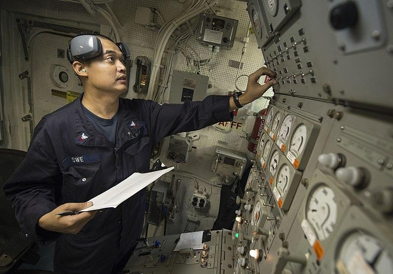 File U S Navy Engineman 2nd Class Myint Swe Checks Gauges