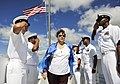 U.S. Navy chief petty officers salute Onah Mohlenbrink during a memorial ceremony for Pearl Harbor survivor Coxswain Gale D. Mohlenbrink at the USS Utah Memorial on Ford Island in Pearl Harbor, Hawaii, Oct. 29 131029-N-IU636-354.jpg