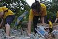 U.S. Sailors and Marines from the aircraft carrier USS Nimitz (CVN-68) gather rocks to during a community service event in Phuket, Thailand, May 30, 2013 130530-N-AZ866-095.jpg