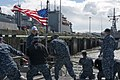 U.S. Sailors heave a line aboard the frigate USS Ford (FFG 54) as the ship leaves Naval Station Everett, Wash., April 29, 2013, to participate in exercise Trident Fury 2013 130429-N-ZF573-014.jpg