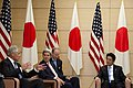 U.S. Secretary of Defense Chuck Hagel, left, U.S. Secretary of State John Kerry, center left, and Japanese Prime Minister Shinzo Abe, right, meet at Abe's residence in Tokyo Oct. 3, 2013 131003-D-BW835-1320.jpg